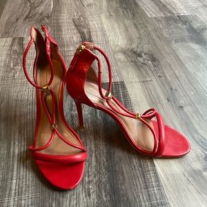 BCBG Max Azaria red leather heels